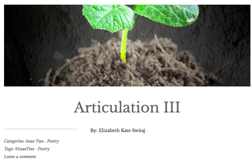 An image of a seedling above the title of the poem